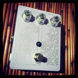 """Custom pedal Number 49. Affectionately described as a """"Blue Box but even more fucked up,"""" this guy features a 4 transistor high gain fuzz run into a 4040 voltage divider on a blend circuit. This one went the way of Jana Hunter."""